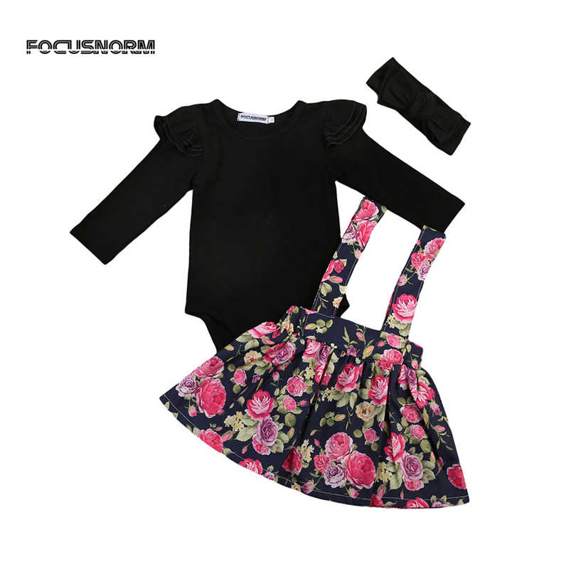 Baby Girl Clothes Cute Kids Toddler Baby Flower Girls Romper Tops+Tutu Dress+Headband 3Pcs Outfits Clothes Set Outfits ropa bebe