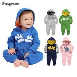 Детский хлопковый комбинезон с длинным рукавом, весенняя толстовка для новорожденных мальчиков и девочек, спортивный костюм для младенцев,...