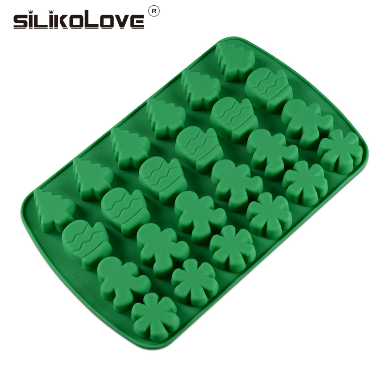 SILIKOLOVE 24Cavity Mini Silicone Molds DIY Christmas Decoration Tree Gingerbread Man Candy Mold Cake Pans Baking