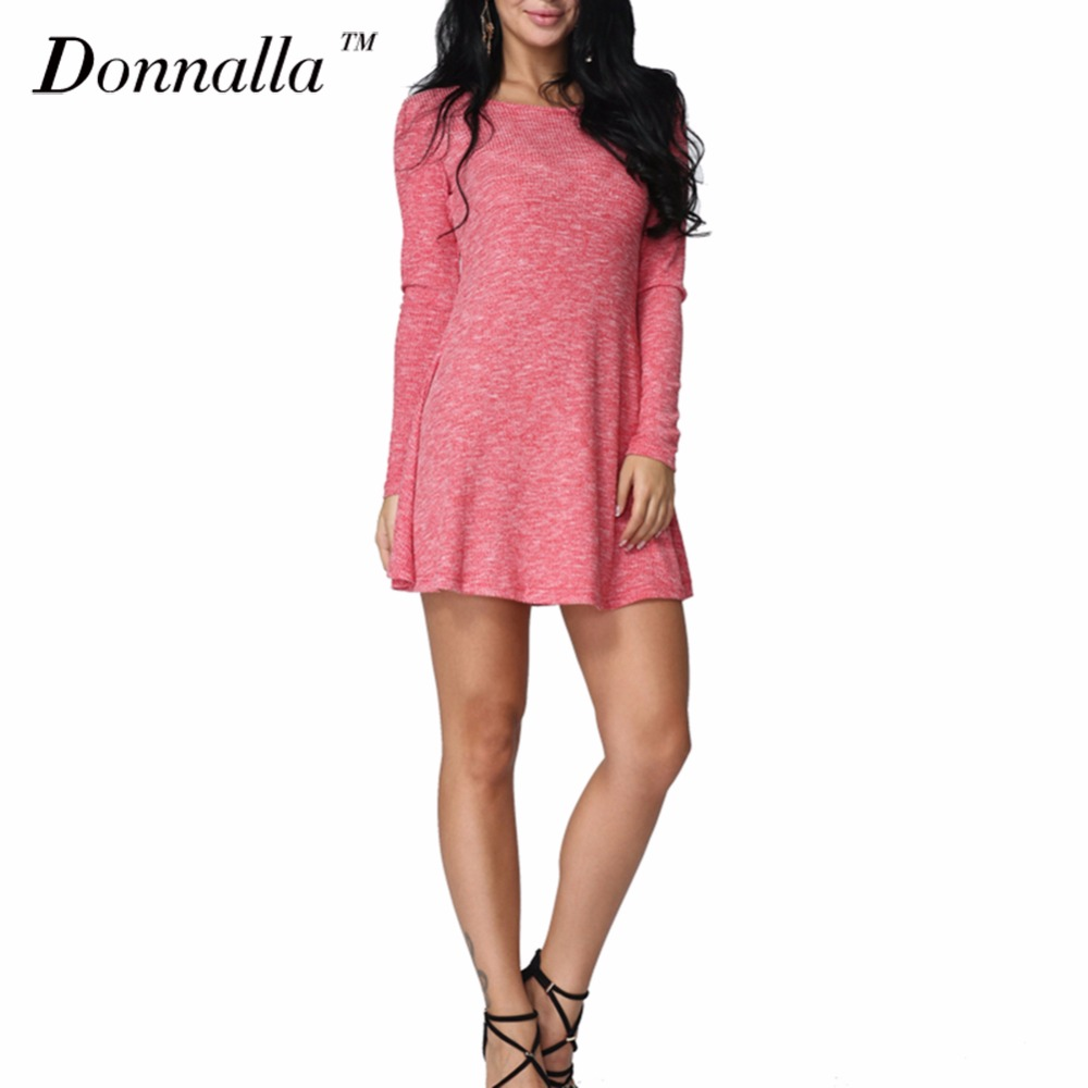 Donnalla Women Dress 2017 Fashion Lace Up Long Sleeve Slim Dresses Autumn Spring Female Slim Knitted A-Line Sweater Dress