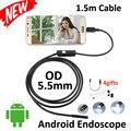 1.5 М Micro USB Android Камеры Эндоскопа 5.5 мм Лен Гибкая Змея USB Труба Портативный Micro USB 6LED Бороскоп Инспекции Камеры