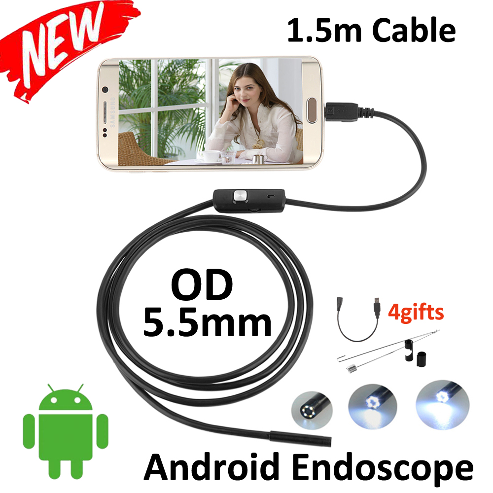 1.5M Micro USB Android Endoscope Camera 5.5mm Len Flexible Snake USB Pipe Portable Inspection Micro USB Borescope 6LED Camera wifi 4 9mm lens ear nose medical usb endoscope borescope inspection otoscope camera for ios android pc