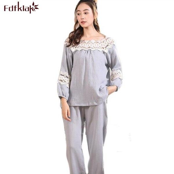 Fdfklak High Quality Lady Sexy Sleepwear Autumn Long Sleeve Cotton Sleeping Clothes Women Pijama Set Pyjama Women Pajamas Q465 Пижама