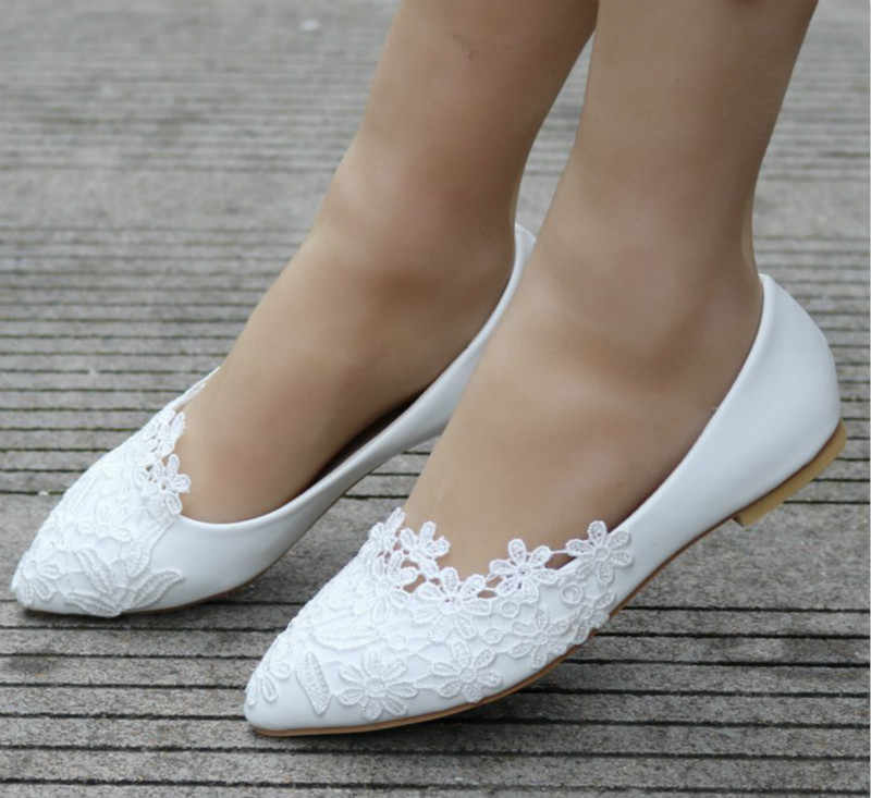 411905886 ... Plus Size Flats Solid Loafers Women Shoes Pointed Toe Slip-On PU  Leather White Lace