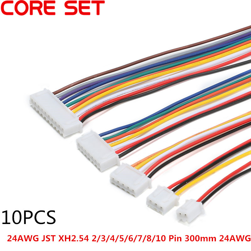 10pcs/lot 24AWG JST XH2.54 2/3/4/5/6/7/8/9/10 Pin Pitch 2.54mm Connector Plug Wire Cable 30cm Length