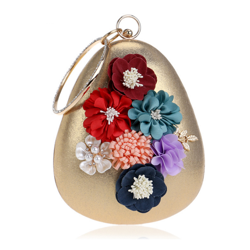 Homeda Evening Bag Metal Ring Flowers Woman Shoulder Bag Decor Chain Portable Banquet Messenger Bag Ladies Handtassen Q-48