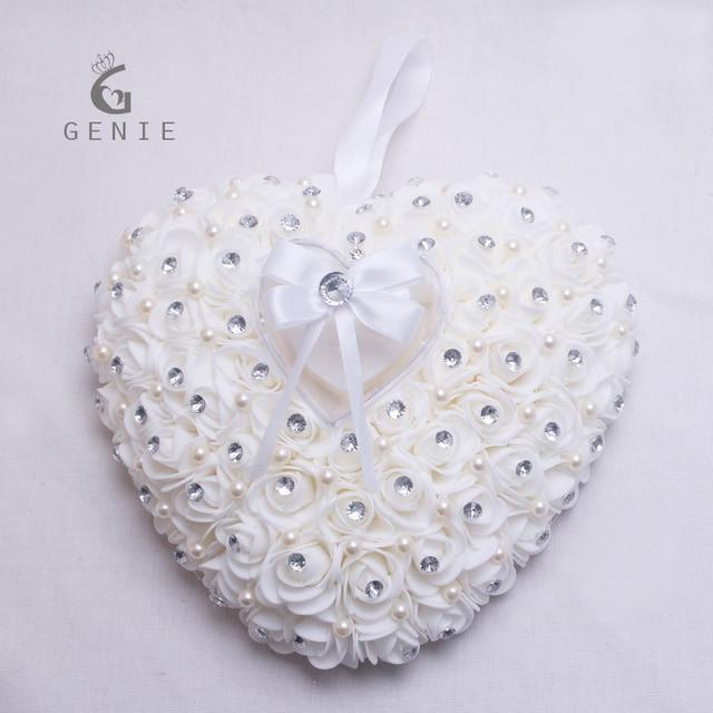 17abfc898b Genie Hanging Ring Pillow with Jewelry Box Rose Flower Heart Design  Rhinestone Pearl Decor Wedding Decoration Ring Cushion Ivory