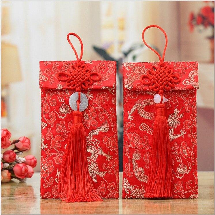 Trasporto Libero 2 Pz Favore Di Cerimonia Nuziale Cina Buste Rosse Nodo Cinese Nappa Rosso Del Raccoglitore Cinese Nuovo Anno Soldi Sacchetto Del Regalo Babyshower