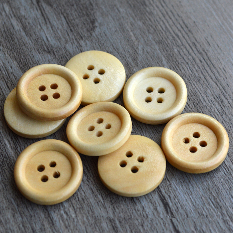 100PCs Natural Wood <font><b>Buttons</b></font> <font><b>10mm</b></font> Round 4 Holes Flatback <font><b>Button</b></font> for Shirt Bag DIY Craft Home Textiles Sewing Supplies image