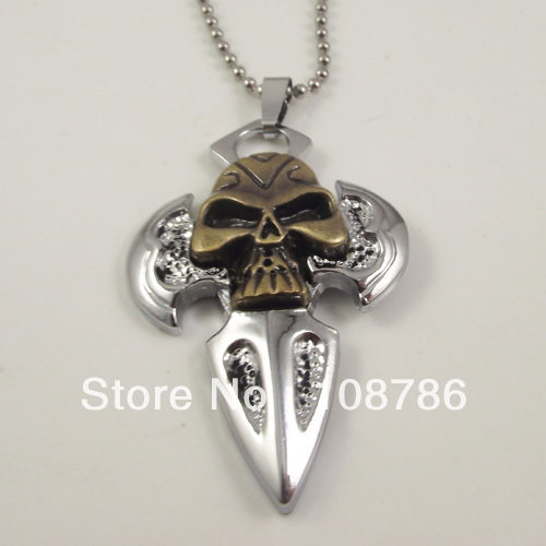 10 pcs wholesale Alloy Skull Pendant Cross Pendant Necklace Jewelry Free Shipping with stainless steel chains