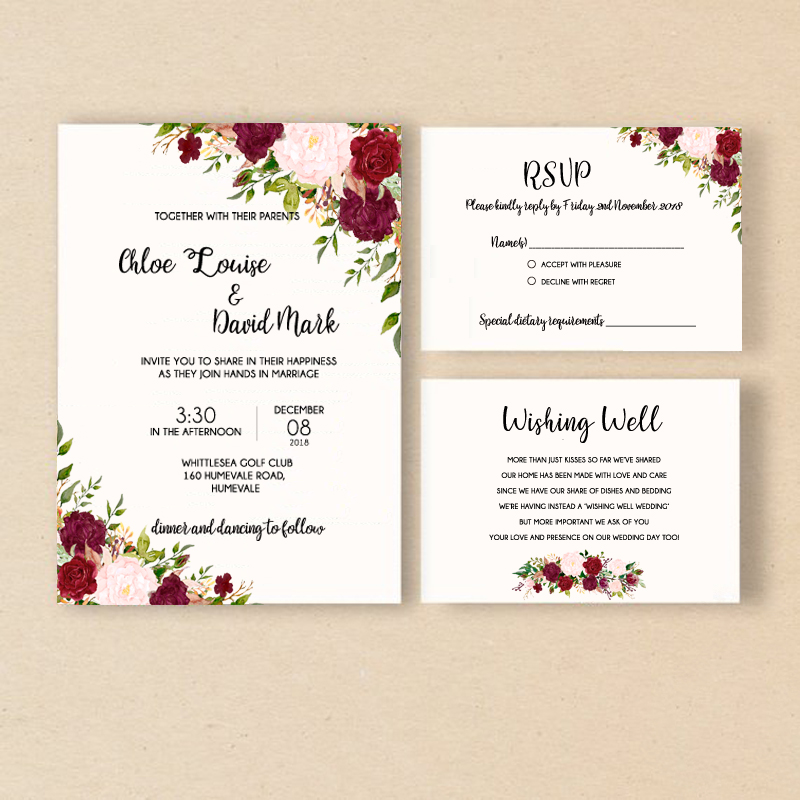 Us 35 0 Elegant Wedding Invitation Flower Cards Rose Invite With Rsvp Set Of 50 Pcs In Invitations From Home