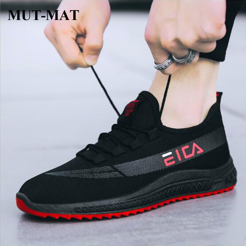 2019 New Design Black Causal Men Sneakers Flyknit Breathable Men Joking Shoes Fashion Non-slip Toothed Sole Male Shoes zapatillas de moda 2019 hombre