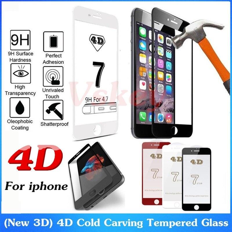 imágenes para 10 unids 4d curvo cubierta completa de vidrio templado para iphone 7 más protectora de cristal protector de pantalla para iphone 6 6s plus película