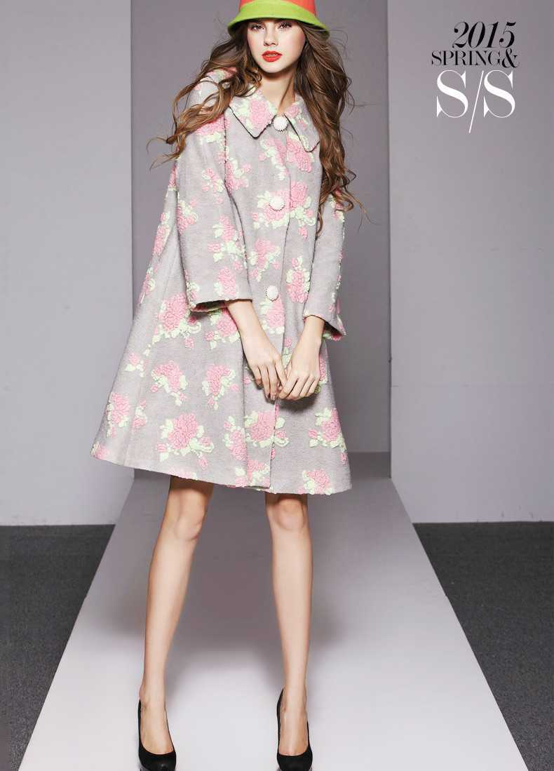 Aliexpress.com : Buy New 2015 Women Long Sleeve Flower Wool Coats