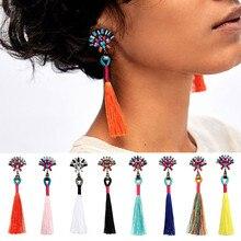 Multicolored Rhinestone Flower Top Ladies Tassel Earrings Boho Long Thread Retro Handcraft za Drop for Women 3I3008