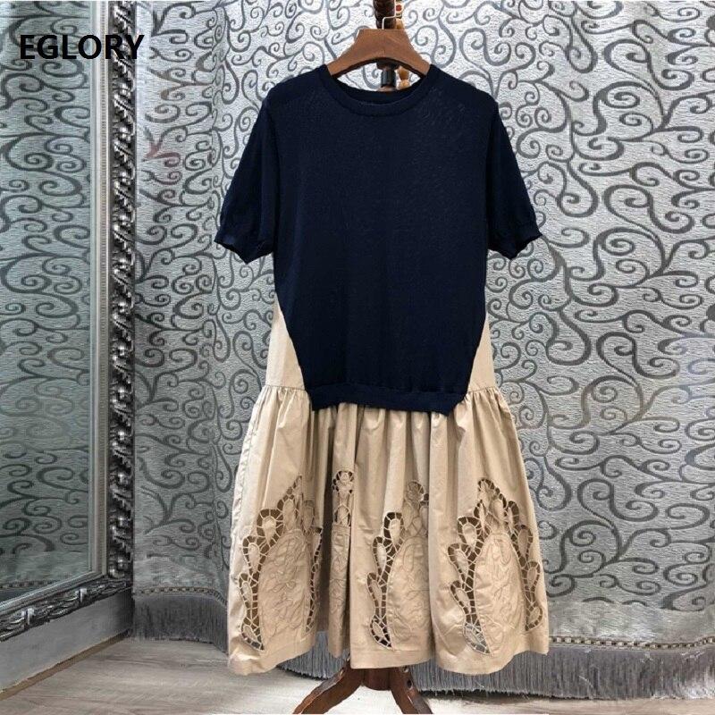 100% robe en coton 2019 automne tenue décontractée femmes col rond évider broderie tricoté Patchwork manches courtes robe bleu kaki