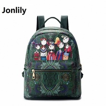 Jonlily women backpack 2017 pu leather shoulder bag Character 3D Printing school bags for teenagers Girl Casual Bagpack-SLI-278
