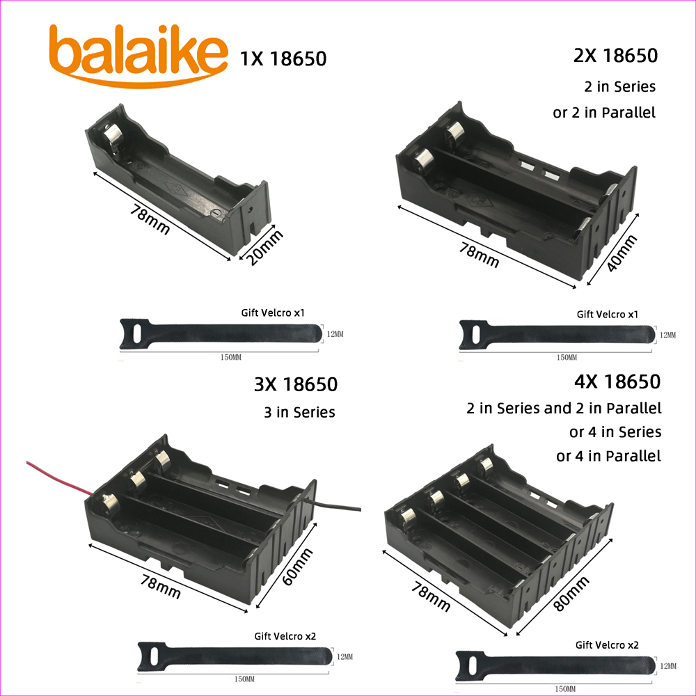 Balaike Black Plastic 1x 2x 3x 4x 18650 Battery Storage Box Case 1 2 3 4 Slot Way DIY Batteries Clip Holder Container And Switch