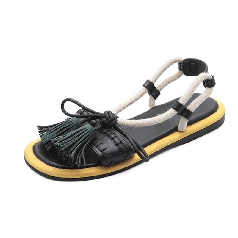 Women's Sandals 2019 Summer Fashion Tassel Leather Flat Sandals For Women Gladiator Sandal Beach Shoes Woman Summer Flat Sandal