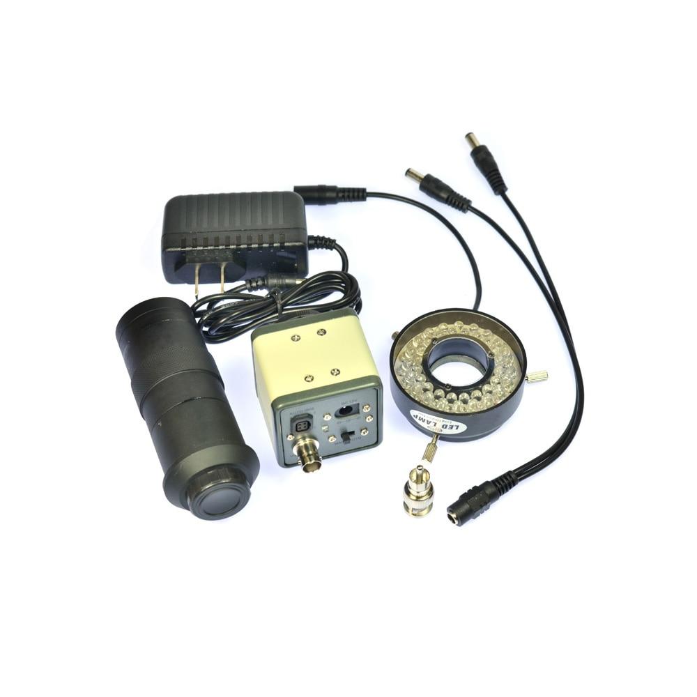 1200TVL BNC Digital Industrial Microscope Camera 100X Zoom C-mount Lens 40 LED Ring Light Sony Sensor bnc м клемма каркам