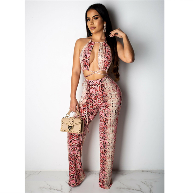 <font><b>Womens</b></font> Snack Bandage <font><b>2</b></font> <font><b>Piece</b></font> Set <font><b>Outfits</b></font> Animal Print Boho <font><b>Sexy</b></font> Jumpsuit Vintage CropTop&<font><b>Pant</b></font> Romper Summer Overall Clothes NEW image