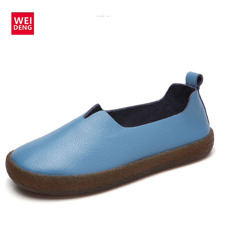 WeiDeng Women Shoes Genuine Leather Ballet Flats Rubber Personality  Soft Flats Slip On Comfort Casual Loafer 2018 Summers Large цена и фото