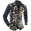Новый 2016 Весна Осень Продаж Мужские Цветочные Рубашки С Длинным Рукавом Золото Шить Цветочные Рубашки Для Мужчин Повседневная Blusa Masculina