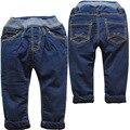 3824 pantalones vaqueros del bebé de invierno cálido suave denim y polar niños vaqueros de las muchachas pantalones casuales niños pantalones sólidos de la marina de guerra azul