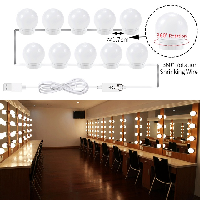 LED Makeup Mirror Light 8W 12W 16W 20W USB Plug Dimmable DC 12V ...
