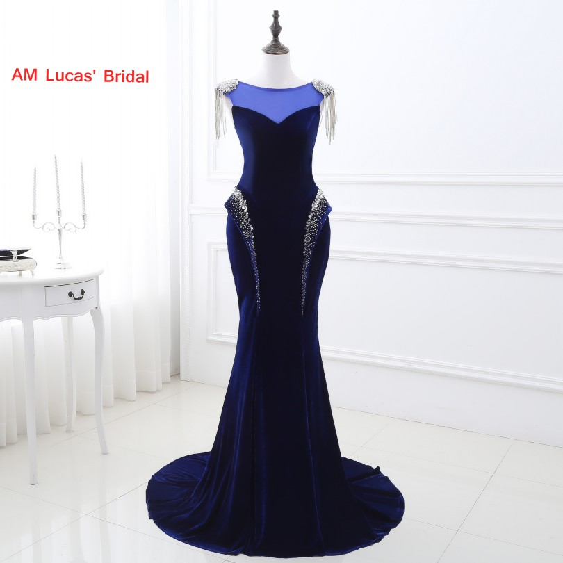 Weddings & Events Obedient Royal Blue Sexy Mermaid Evening Dress Velour Women Formal Gown For Prom Wedding Party Dresses Robe De Soiree Promoting Health And Curing Diseases