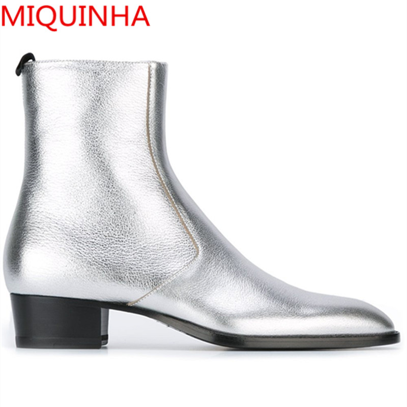 все цены на Fall Classic Wyatt Mens Metallic Leather Ankle Boots Pointed Toe Zip Silver Leather Harness Ankle Chelsea Boots Runway Style онлайн