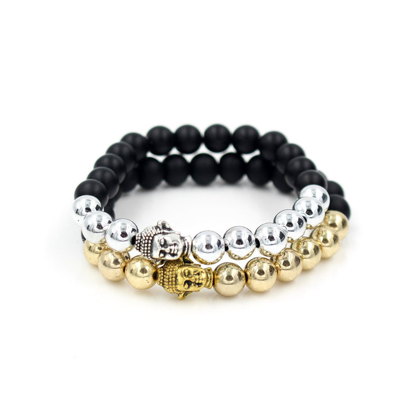 Popular Black Matte and CCB Stone Prayer Bead Buddha Lion Skull Charm Elastic Bracelet for Women and Mens Pulseras Masculina