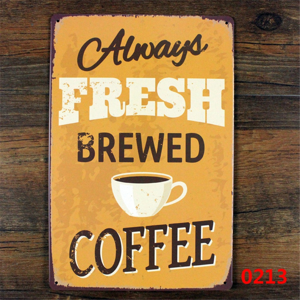 Wholesale Hot Sale Fresh Brewed Coffee Vintage Iron Tin Signs Bar ...
