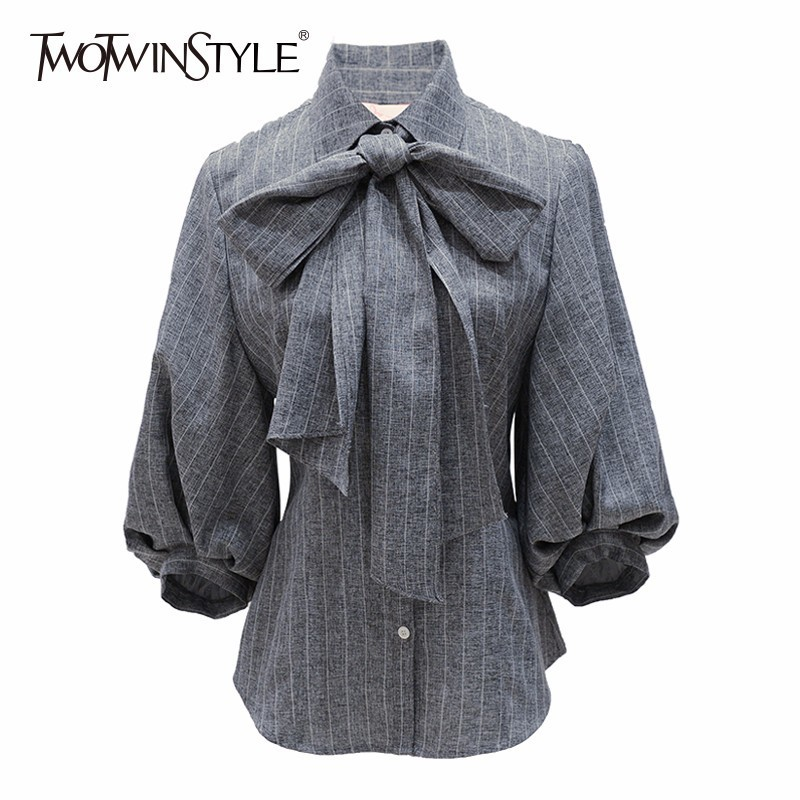 TWOTWINSTYLE Bow Women's Shirt Striped Lapel Collar Puff Shoulder Slim Blouse Tops 2019 Spring Female Vintage Fashion Clothing