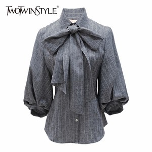 TWOTWINSTYLE Bow Women's Shirt Striped Lapel Collar Puff Shoulder Slim Blouse Tops 2020 Spring Female Vintage Fashion Clothing