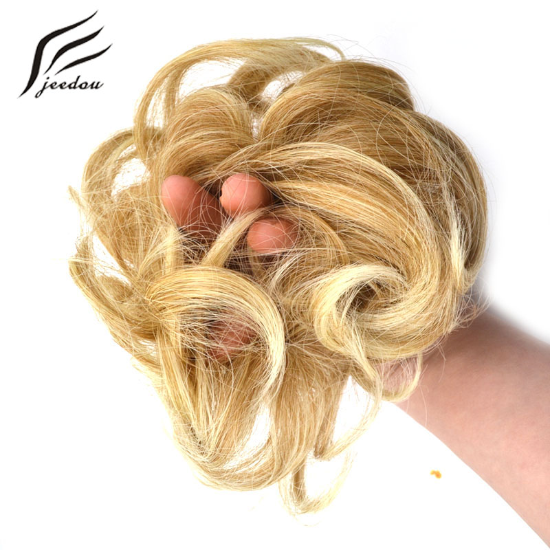 jeedou Heat Resistant Synthetic Hair Elastic Chignon Hairpiece Curly Bun Mix Color Wavy Chignon Hair Extension strap