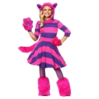 Deluxe Alice In Wonderland Girls Mysterious Cheshire Pet Cat Costume Halloween Party Animals Performance Cosplay