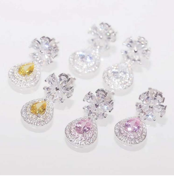 925 Sterling Sliver Austrian Flower Shape Zircon Water Drop Crystal Pendant Drop Earrings For Bridal Wedding Jewelry