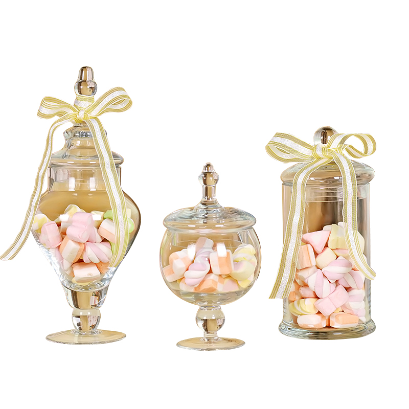3pcs Strong Glass Storage Tank Glass Candy Jar Home Wedding Decors Party Supply Empty Jars