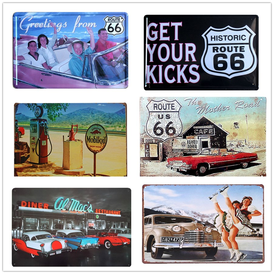 Customed American Most Popular Shield Route 66 Sign Metal Tin Sign Mini Tag License Plat ...