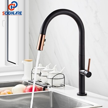 Black Kitchen Faucet For Kitchen Mixer Tap 360 Rotate Swivel Faucet Solid Brass Single Handle Mixer Sink Pull Out Kitchen Tap quyanre black led orb kitchen faucet pull out sprayer 360 rotation single handle mixer tap sink faucet black rubber faucets