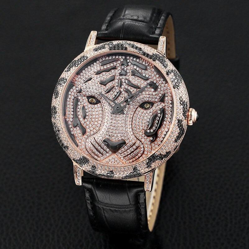 Qi Xuan_Tiger tête temps pour courir la montre de personnalité rotative avec 5A Zircon coupe grand cadran étanche Quartz ceinture grande montre pour hommes