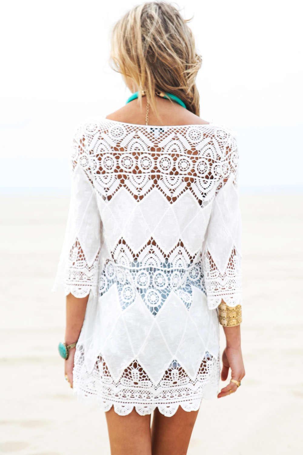 f795dd7e8d ... New Women Hawaiian Vestido Beach Dresses Lace Angel White Lace-up  Crochet Knit Honeycomb Beachwear ...