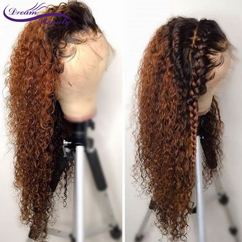 1B/30 Lace Front Wig Brazilian Remy Curly Hair Ombre Human Hair Colored Wigs Pre Plucked Lace Front Human Hair Wigs Dream Beauty