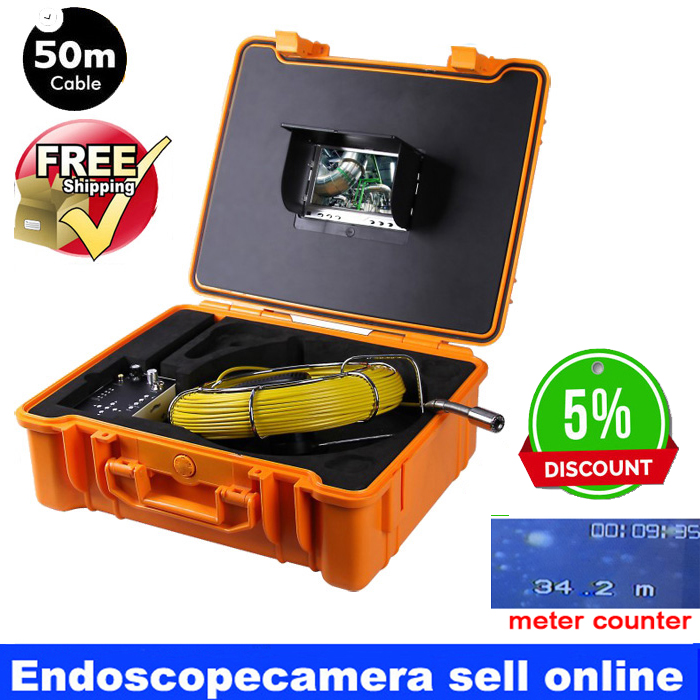 50m Bestwill 7 Inch Portable Underwater Endoscope Pipe Car Sewer Snake Cam Waterproof Inspection Camera with meter counter