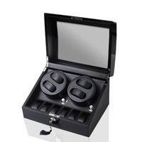 New 4 6 Black Carbon Fiber Rocker On The Chain Automatic Watch Box Motor Translator Akira