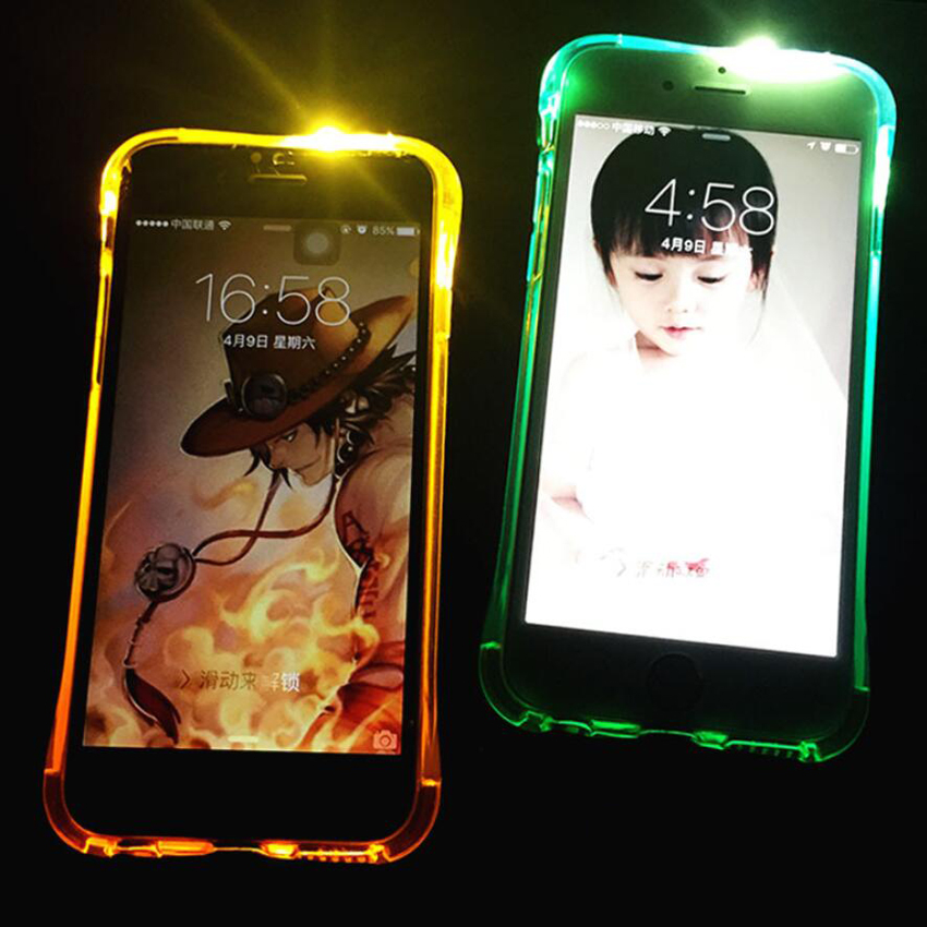 For Apple iPhone 7 7Plus LED Light Flash Clear TPU Case For iPhone 6 6S Plus Smart Calling Glitter Ultrathin Luminous Back Cover