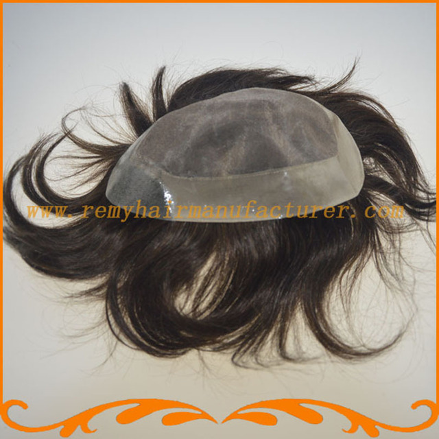 Free Shipping 1B 2# 3# color straight wave 100% Indian remy hair mono and around NPU men's toupee wig