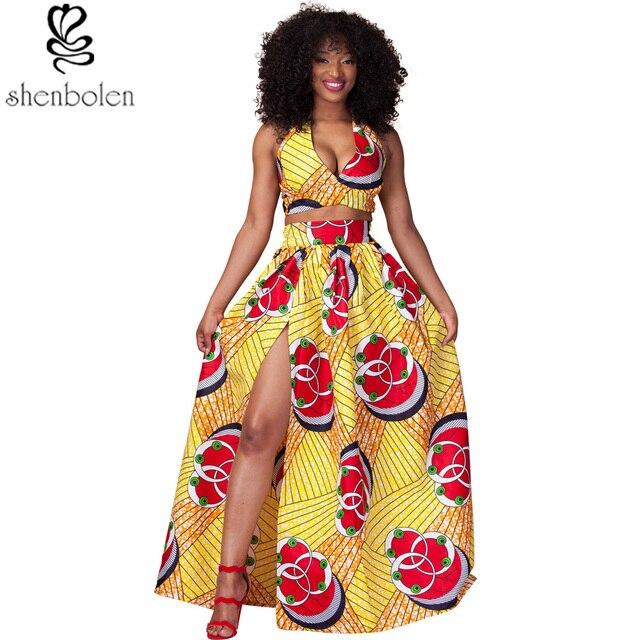 b3e7d736f920 2016 summer African dresses for women sexy halter neckline short top+maxi  skirt ankara wax