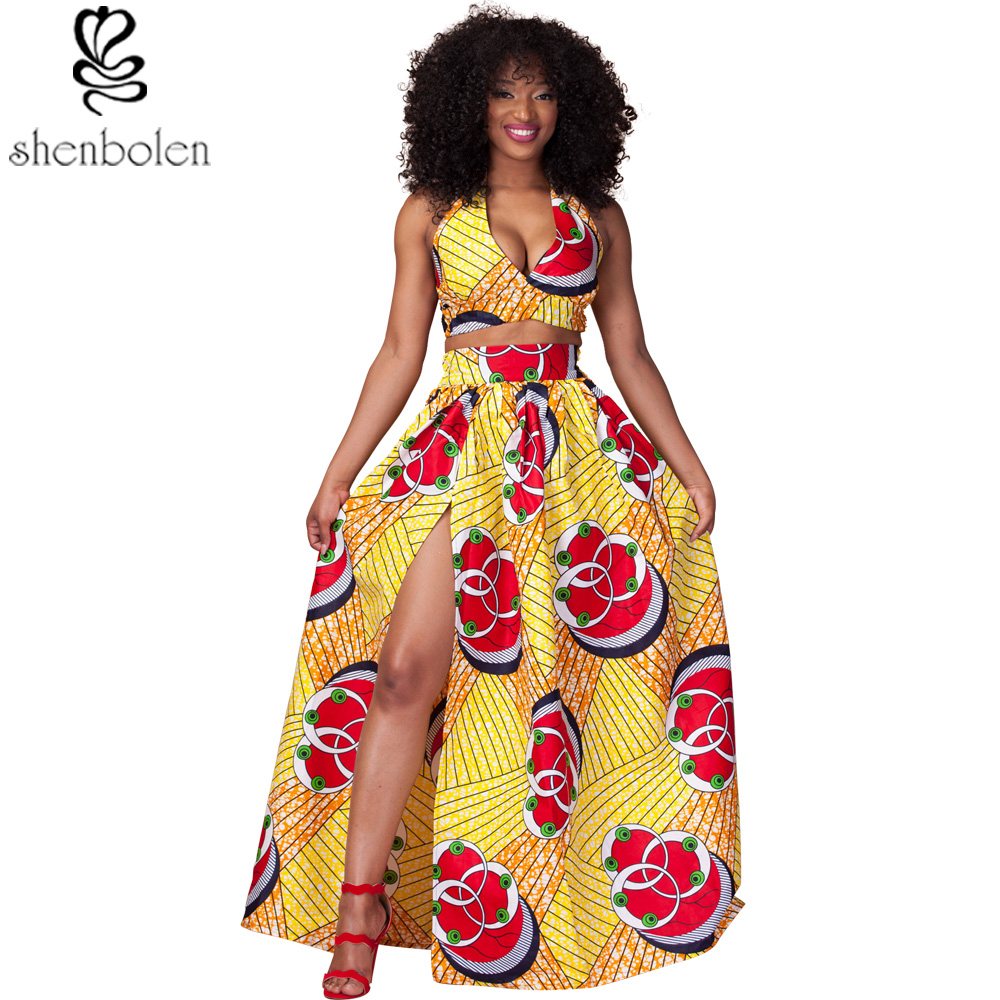 2017 t africain robes pour femmes sexy halter encolure courte top maxi jupe ankara cire. Black Bedroom Furniture Sets. Home Design Ideas